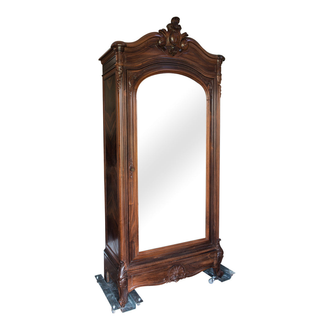 French Antique Mirrored Rosewood Armoire with Birdseye Maple Interior from Paris