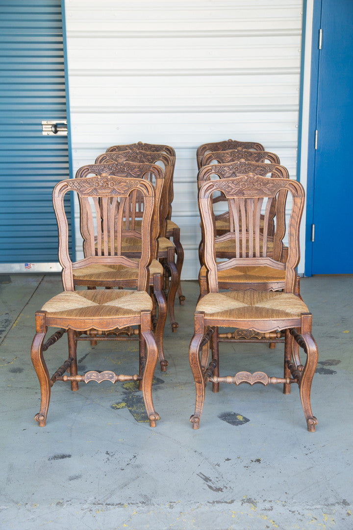Antique French Rush Seat Chairs