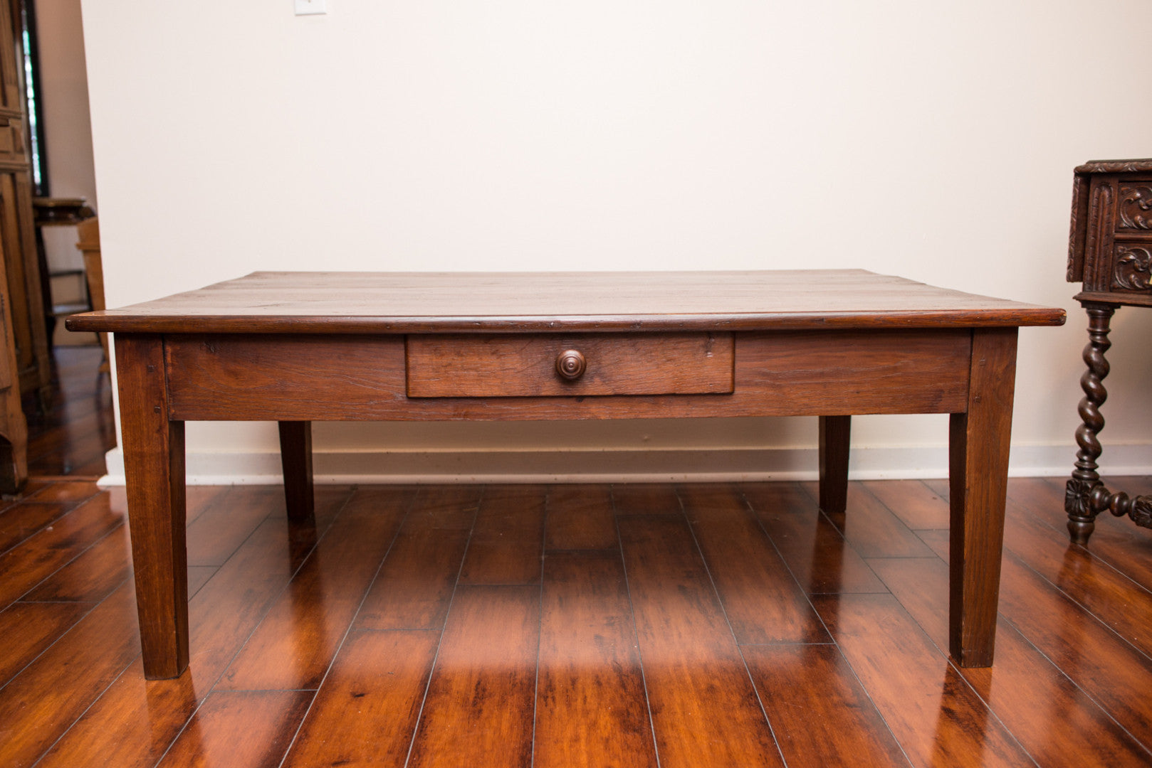 19th C. Country French Coffee Table Pegged France