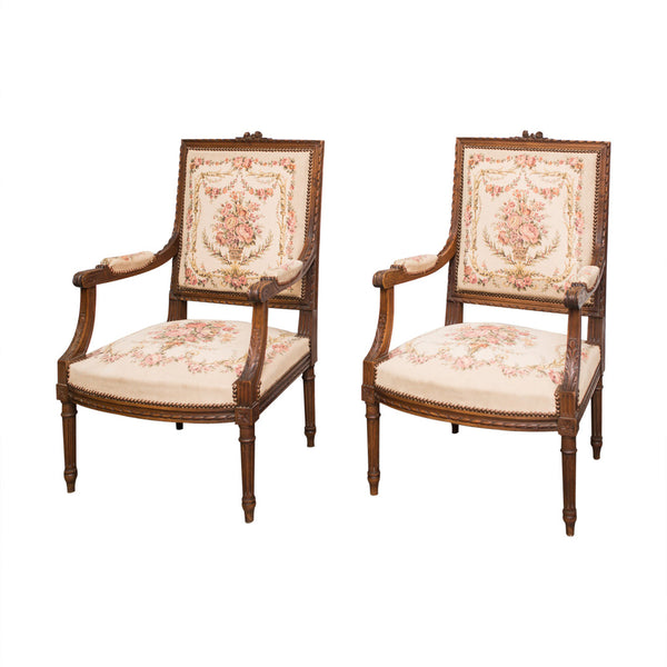 Antique French Tapestry Armchairs