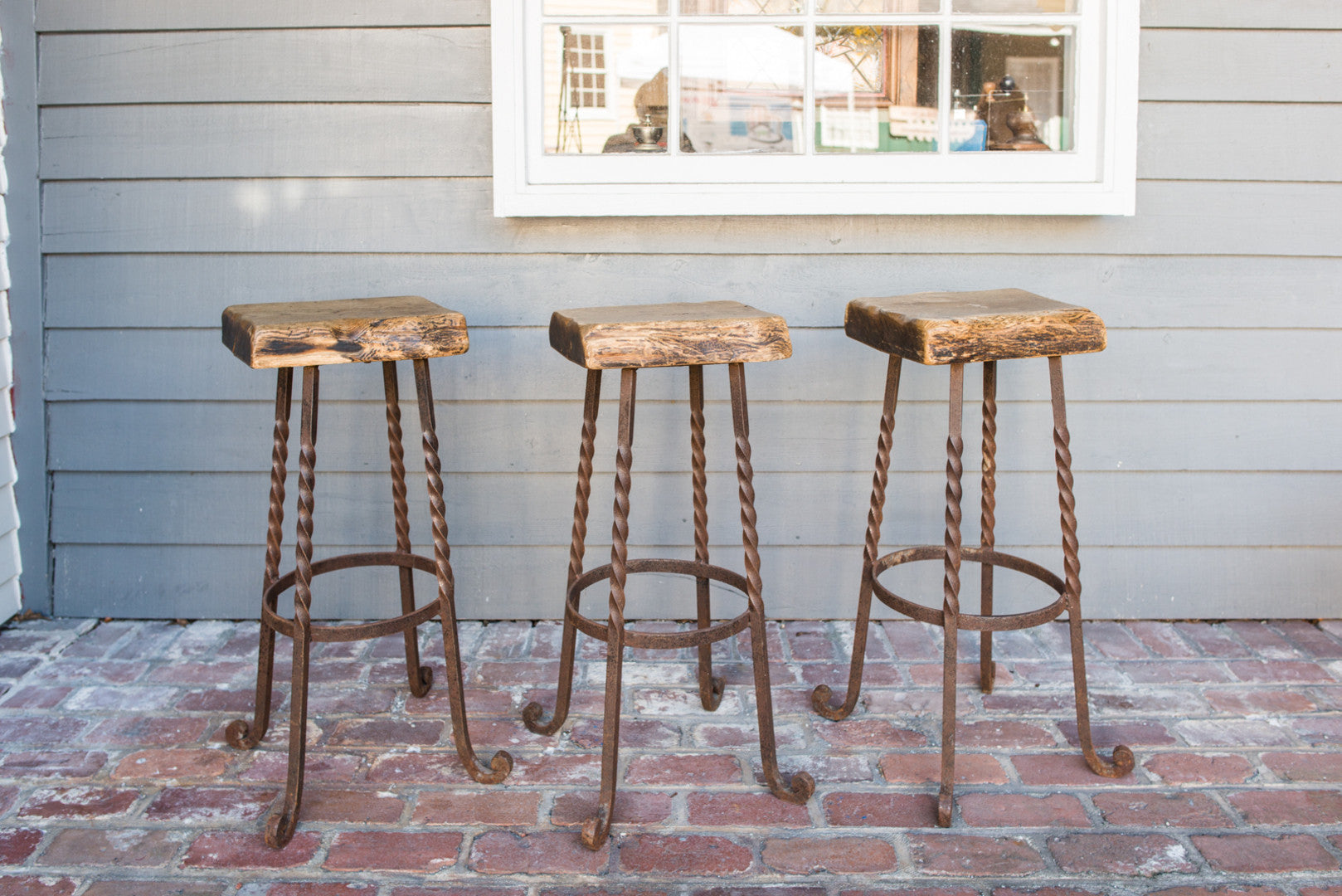 Salvage and Reclaimed Wood Bar StoolsSet of 3