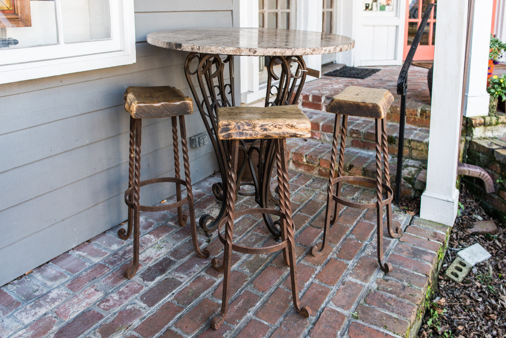 Architectural Salvage and Reclaimed Wood Bar Stools-Set of 3