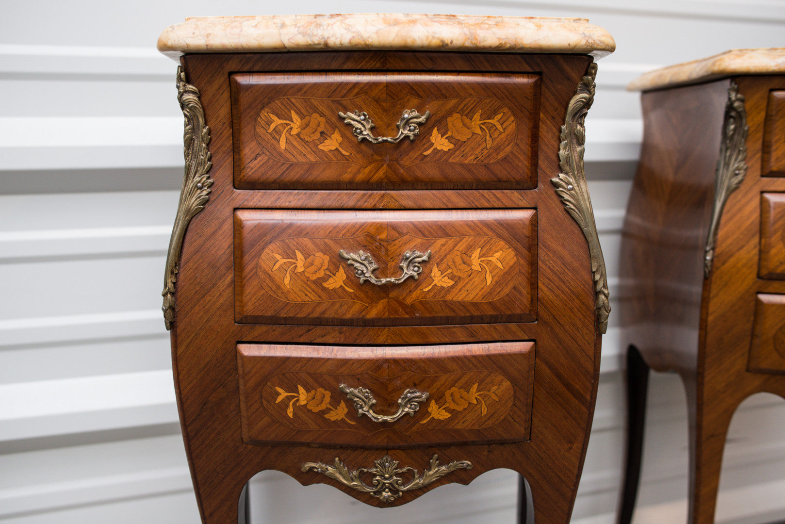 Louis XV style  Bombe Commode Night Tables
