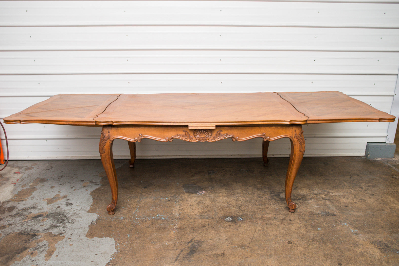 Louis XV Style Refectory Table Parquet Top Shell Motifs
