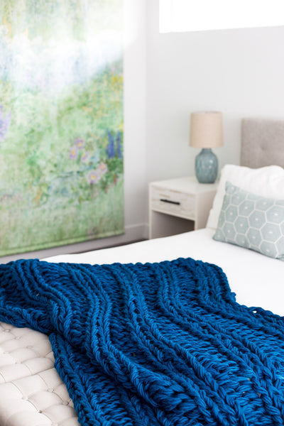 Arm Knit Ribbed Blanket Pattern
