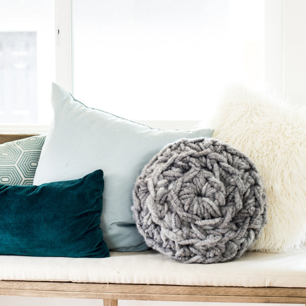 Hand Crochet Round Pillow Kit