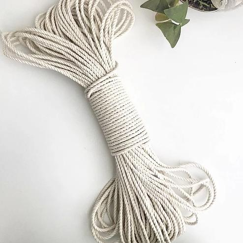 "150 Feet 1/8"" 100% 3-strand Cotton Rope"
