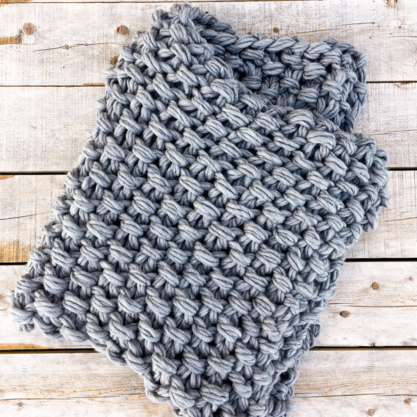Arm Knit Seed Stitch Blanket Kit