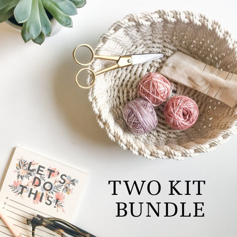 TWO Kit Bundle - Woven Cotton Trivet and Small Rope Bowl