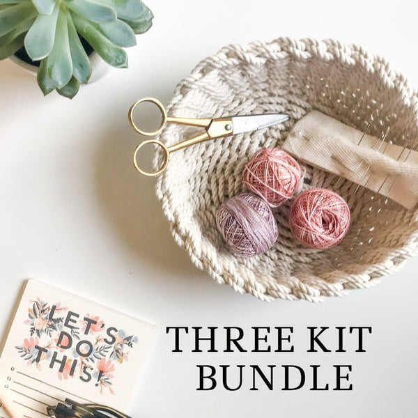 THREE Kit Bundle - Cotton Trivet and Woven Glass and Small Rope Bowl
