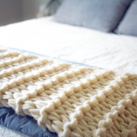 Arm Knit Garter Stitch Blanket Pattern