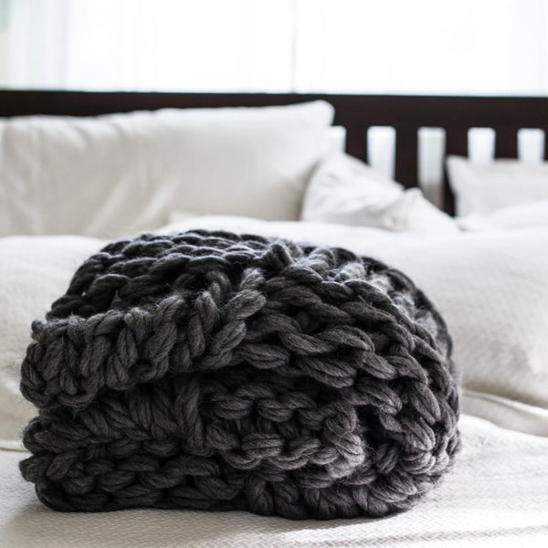 Arm Knit Chunky Basket Weave Blanket Kit