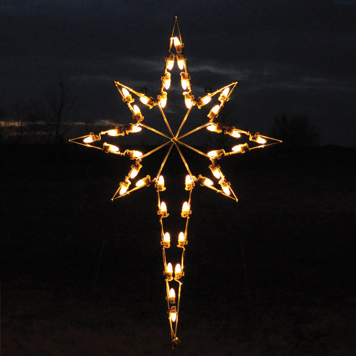 Religious Nativity holiday Star of Bethlehem outdoor light motif, C7 Bulb warm white