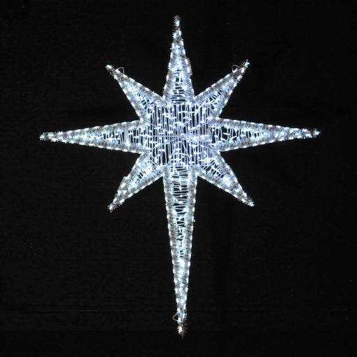 Large Pure (Cool) White Moravian Star outdoor light motif, Moravian Stars in LED lights are one of our most impressive light motifs!  Bethlehem Star over Nativity scenes, Religious, traditional, holiday decorations