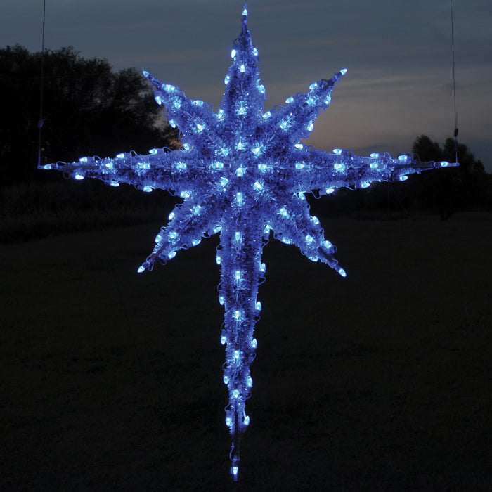 giant, large, commercial-grade, outdoor, star, Moravian, Christmas, holiday, LED,  blue, religious, garland, light, quality, durable, traditional, hanging, motif, 2021