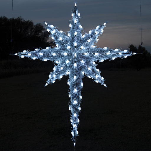 Large One sided Pure (Cool) White Moravian Star outdoor light motif, Moravian Stars in LED lights are one of our most impressive light motifs!  Bethlehem Star over Nativity scenes, Religious, traditional, holiday decorations