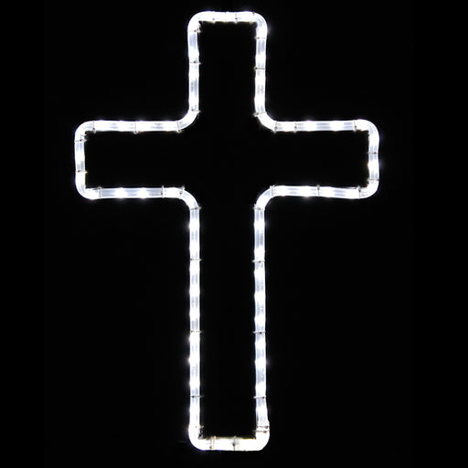 Small Cross - Pure White, hanging outdoor window light motif, Religious, Christian and Easter decoration