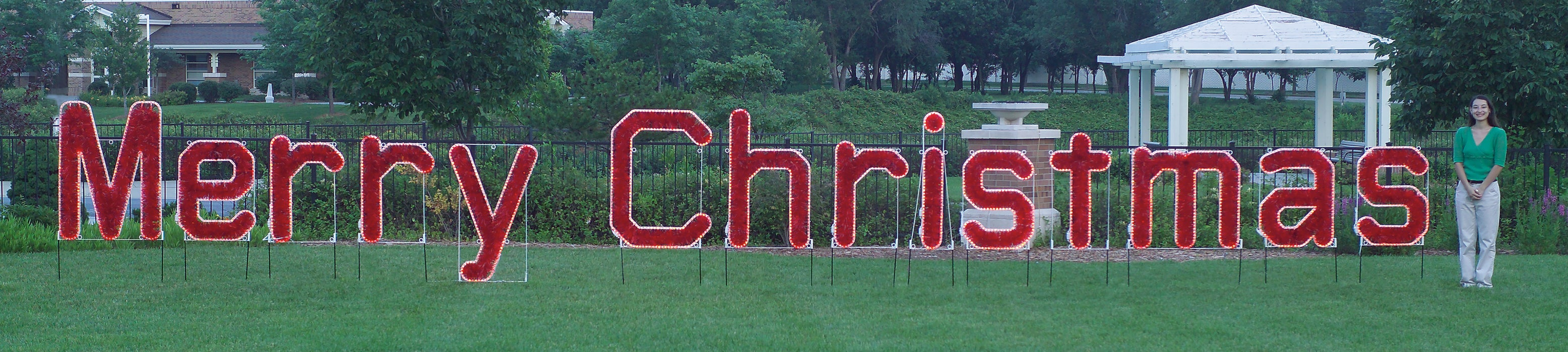 Large Merry Christmas in Red LED Lights and Garland, lighted outdoor motif, Holiday, traditional yard motifs