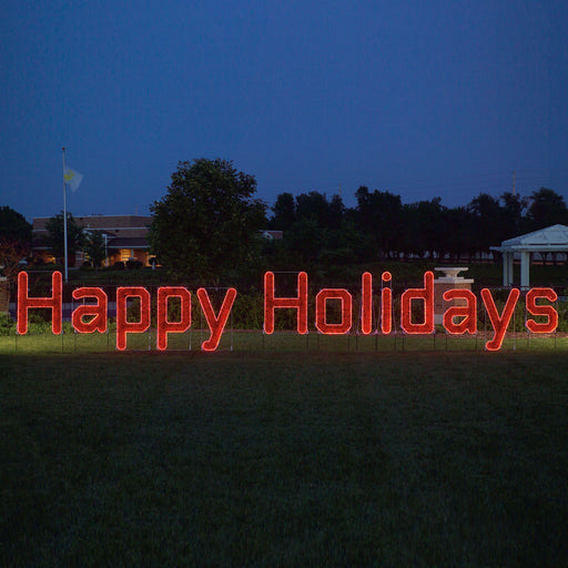 Happy Holidays Sign (Ropelight with Garland) - Red, Large illuminating traditional outdoor yard or store front motif