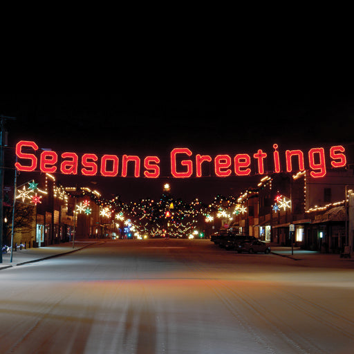 Seasons Greetings (Ropelight with Garland) - Red, Festive welcome sign, hung street motif, pole mount, banner holiday, Christmas decoration
