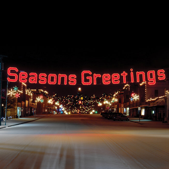 Seasons Greetings (Ropelight with Garland) - Red, Festive welcome sign, hung street motif, pole mount, banner holiday, Christmas decoration, outdoor, indoor, LED, bulb, lights, quality, durable, commercial-grade, light motif, religious, Christmas, holiday, aluminum, decoration, seasons greetings, sign, giant, life-sized