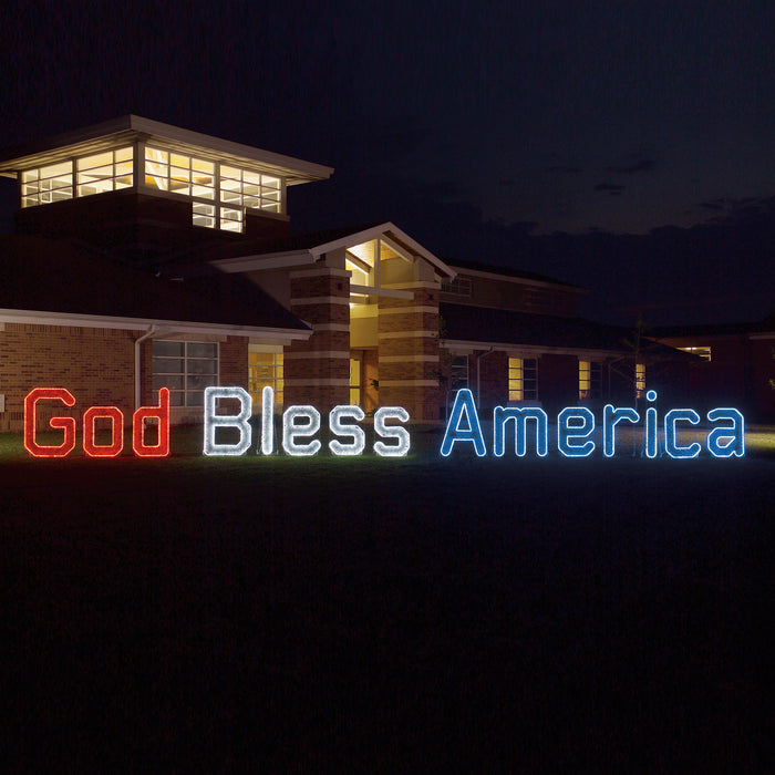 God Bless America Sign (Ropelight with Garland) (1113-N)