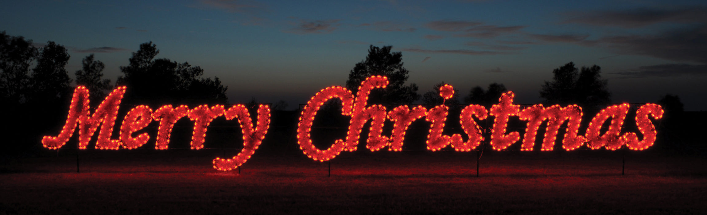 giant, large, commercial-grade, outdoor, sign, script, merry Christmas, holiday, LED, bulb, C7, red, garland, light, quality, durable, traditional, yard motif, 2021