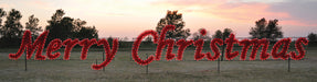 Daytime view, giant, large, commercial-grade, outdoor, sign, script, merry Christmas, holiday, LED, bulb, C7, red, garland, light, quality, durable, traditional, yard motif, 2021