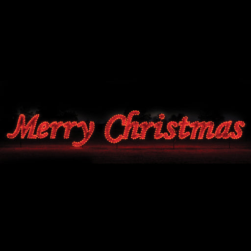 large Merry Christmas in Red LED lights and garland, outdoor holiday light motif