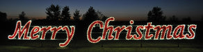 Large Warm White Garland and Red Light Outdoor Merry Christmas motif, Holiday yard motifs
