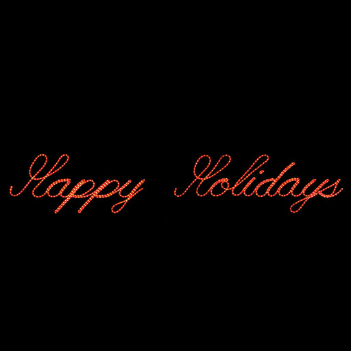 Happy Holidays (Rope light Script) Sign - Red, Outdoor yard motif, traditional illuminating