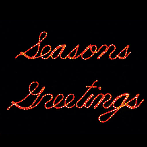 Small Seasons Greetings Red Rope light script sign, outdoor window motif, holiday decoration