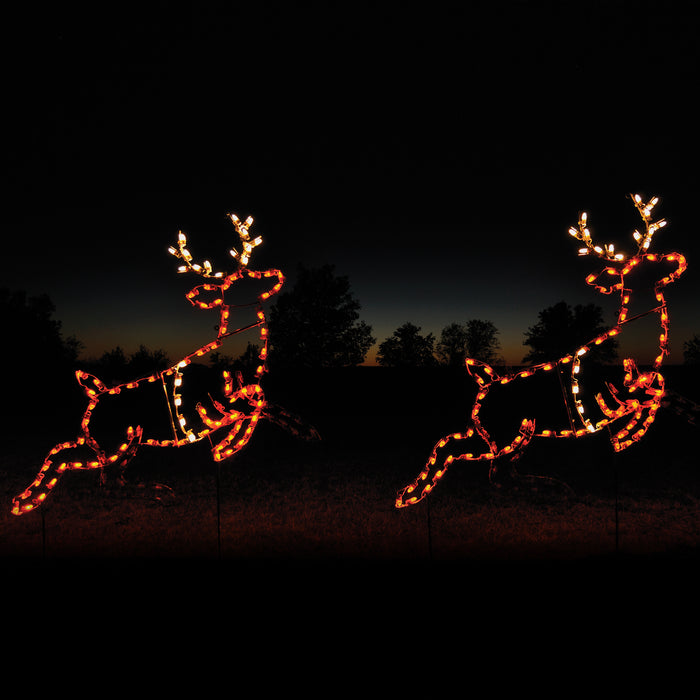 giant, life-size, commercial-grade, outdoor, Christmas, holiday, LED, bulb, lights, aluminum frame, quality, durable, motif, display, 2021, animated, reindeer, decoration, buck, set of two