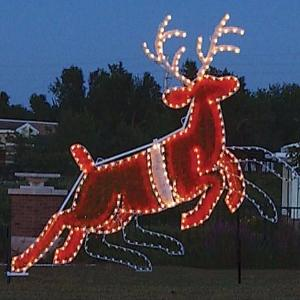 Giant Commercial Animated Outdoor Christmas Holiday Reindeer, Santa Sleigh, C7 LED, Aluminum frame, asher, Dancer, Prancer, Vixen, Comet, Cupid, Dunder (variously spelled Donder and Donner), and Blixem (variously spelled Blixen and Blitzen