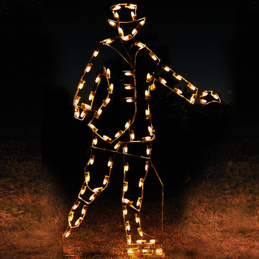 Victorian Skater man outdoor motif, in C7 LED lights , professional artist Gene V. Dougherty,  Victorian Christmas traditional holiday decoration