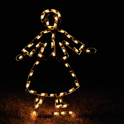 Victorian Skater Girl outdoor motif, in C7 LED lights , professional artist Gene V. Dougherty,  Victorian Christmas traditional holiday decoration