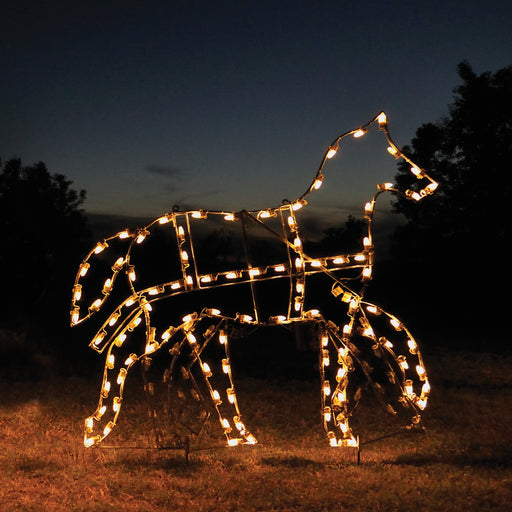 Animated Victorian Horse, Traditional Outdoor motif, Commercial grade C7 lights, aluminum frame, artist design