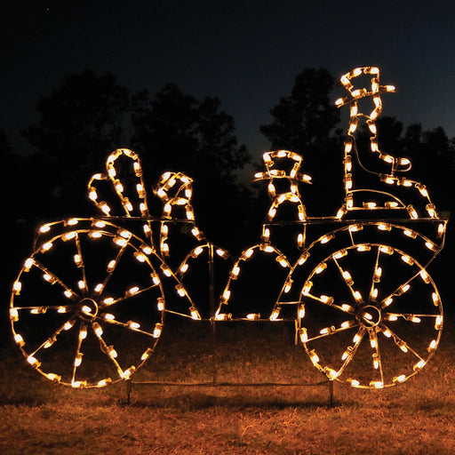 giant, life-size, commercial-grade, outdoor, Christmas, holiday, LED, bulb, lights, aluminum frame, quality, durable, motif, display, 2021, animated, victorian carriage, C7