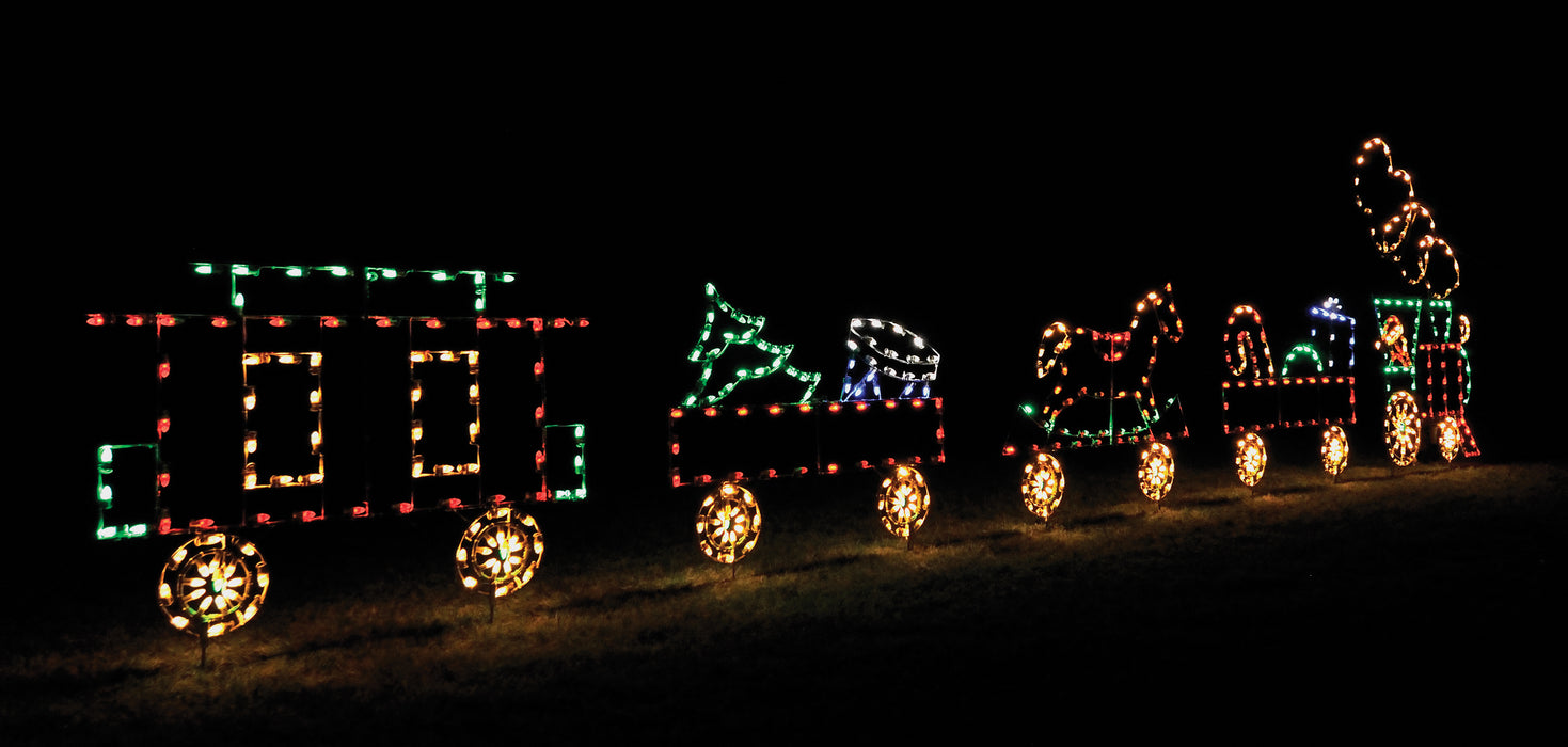 Animated Christmas Train Set, C7 LED lights,commercial-grade, aluminium frame, outdoor motif,