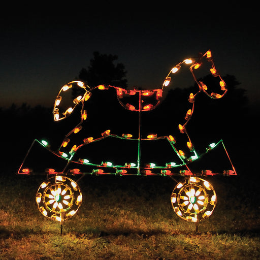 Christmas rocking horse flat car, train set, outdoor holiday decoration, animated, C7 LED Bulbs, aluminum frame, motif, holidaylights.com 2021