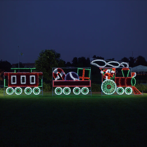 giant, large, commercial-grade, outdoor, Christmas, holiday, LED, rope light, quality, durable, motif, train, decoration, animated train, C7 bulbs, 2021