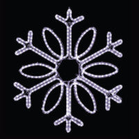 Hanging 48 Single Loop Snowflake Pure (Cool) White , 4 feet rope light illuminating holiday, Christmas traditional outdoor decoration, window display,