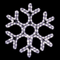 Hanging 60 Inch Hexagon Snowflake Pure (Cool) White , 5 feet rope light illuminating holiday, Christmas traditional outdoor decoration, window display,