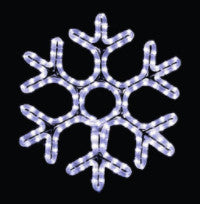Hanging 48 Hexagon Snowflake Pure (Cool) White , 4 feet rope light illuminating holiday, Christmas traditional outdoor decoration, window display,