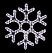 Pure (Cool) White 36 inch hanging Hexagon Snowflake , 3 feet rope light illuminating holiday, Christmas traditional outdoor decoration, window display,