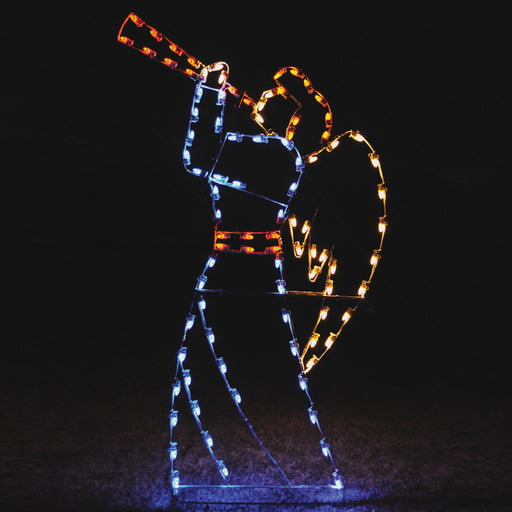 Gabriel herald Angel outdoor illuminating Christmas light motif, nativity, traditional, religious statue