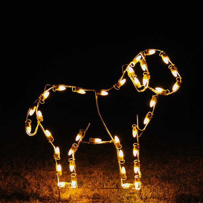 life-size Standing Lamb in C7 LED lights was designed by professional artist Gene V. Dougherty, Religious, Christmas, Holiday outdoor decorations