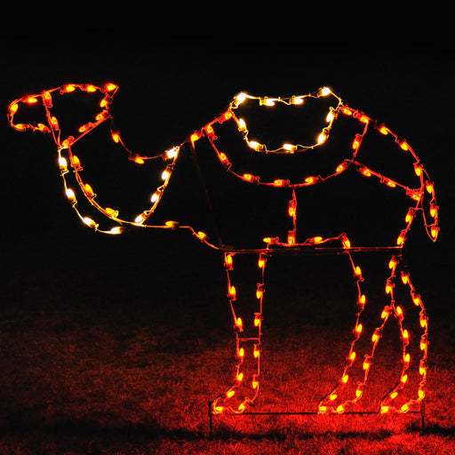 life-size Standing Camel motif, C7 LED lights, professional artist Gene V. Dougherty, Nativity, Religious, Christmas, Holiday outdoor decoration