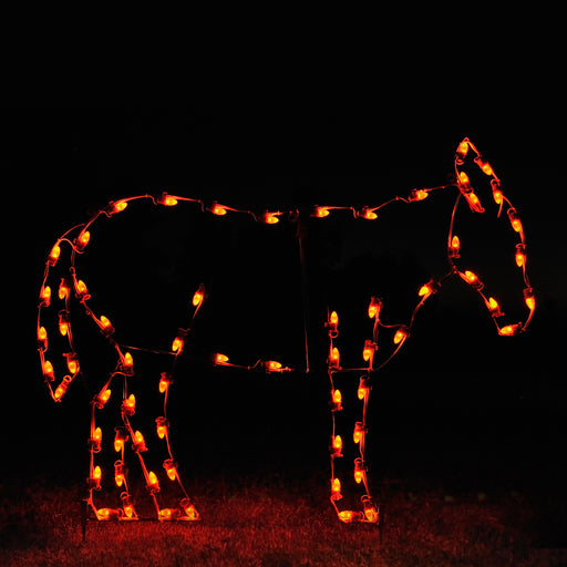 life-size Standing donkey motif, C7 LED lights,  professional artist Gene V. Dougherty, outdoor Christmas, holiday religious decoration