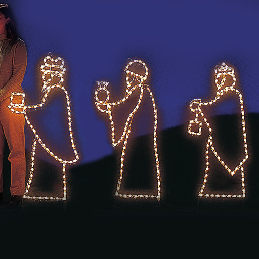 small LED mini light Nativity Three Wiseman,  Small Nativity Scene, professional artist Gene V. Dougherty, outdoor religious, holiday decoration